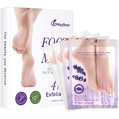 MayBeau 4 Pairs Foot Peel Mask Exfoliating Baby Foot Mask Set,Peeling Away Callus and Dead Skin,Natural Lavender and Olive Scented Booties Repair Rough Heels Treatment Soft Smooth Touch Baby - Peel Mask Off Whitening