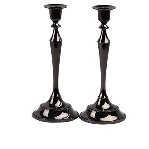 (Metal Taper Candle holder,Set of 2,Black)