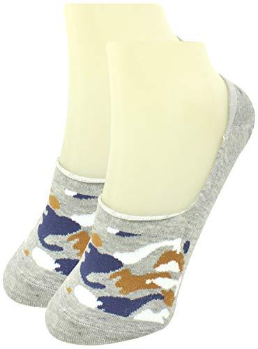 Neska Moda Men #39;s 1 Pair Grey Geometric Print No Show Socks ON74