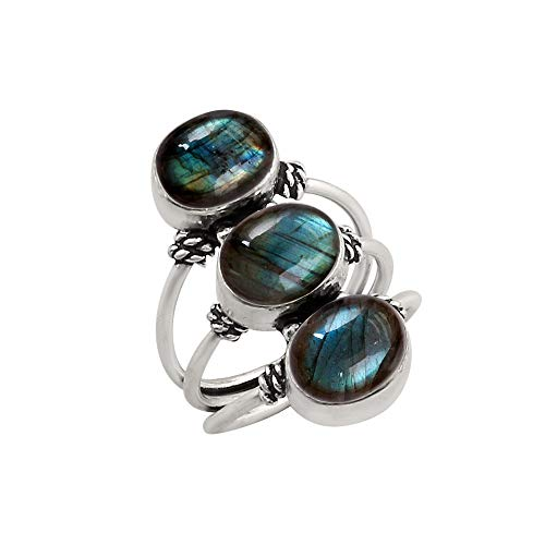(925 Silver Plated Genuine Oval Shape Labradorite Three Stone Ring Vintage Style Handmade Oxidized Finish for Women Girls (Size-6.5))