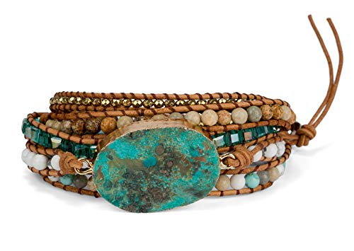 SPUNKYsoul Ocean Jasper 5 Wrap Handmade Leather Bead Crystal Wrap Bracelet Collection (5 Wrap Ocean Jasper) (Happiness Bead)
