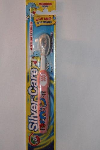Piave SilveCare bébé brosse à dents souple pour les âges 6-36 mois (4354) - Made in Italy (Rose)