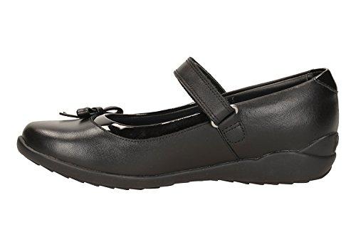 Clarks Ting-Fieber Mädchen Junior School Schuh in schwarzem Leder oder Patent Black Leather