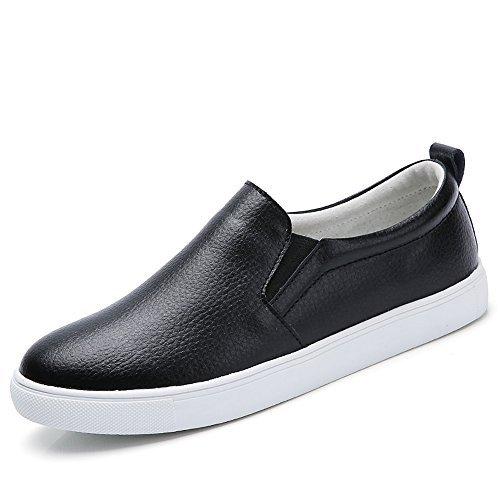 YZHYXS Black Slip-On Sneakers Women Women's Sneakers Loafers Women Flat Shoes for Women Flat Shoes Women Size 7.5 (505black38) - Genuine Leather Women Sneakers