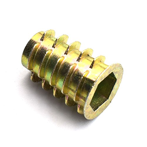 LQ Industrial 30pcs 25mm Furniture Screw-in Nut Zinc Alloy Bolt Fastener Connector Hex Socket Drive Threaded Insert Nuts For Wood Furniture Assortment 3/8