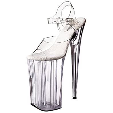 Amazon.com | Alluring Clear Lucite Strappy Sandals Sky