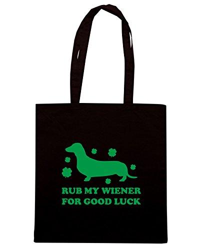 T-Shirtshock - Bolsa para la compra TIR0173 rub my wiener for good luck green tshirt Negro