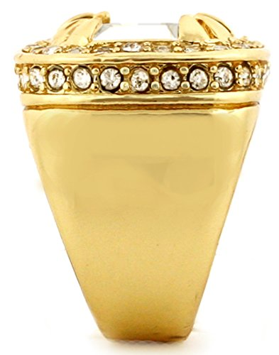 Gold Tone Synthetic Red CZ Stone Mens Rick Ross Hip Hop Style Ring (8) by GIFTS INFINITY (Image #3)