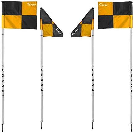 Dimensions : 5 pi x 25 mm Kosma Lot de 4 drapeaux d/'angle pliables pour entra/înement de football dans un sac de transport Blanc avec piquet en m/étal et drapeau orange