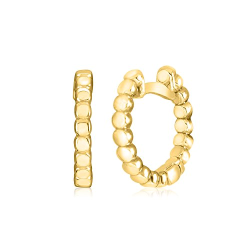 - UNICORNJ 14K Yellow Gold Polished Square Beaded Design Small Huggie Hoop Earrings Italy