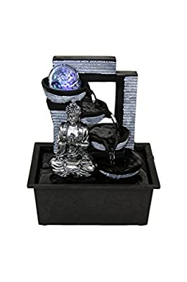 Buddha Indoor Tabletop Water Fountain Black/Silver w/Rolling Crystal Ball LED Lights