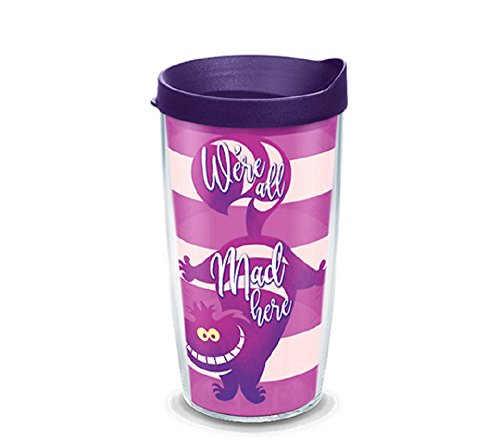 Tervis 1269224 Disney - Alice In Wonderland Cheshire Cat Insulated Tumbler with Wrap and Royal Purple Lid, 16 oz, Clear]()