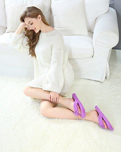 Onmygogo Coral Fleece Slippers Voor Dames Antislip Buitenzool Paars