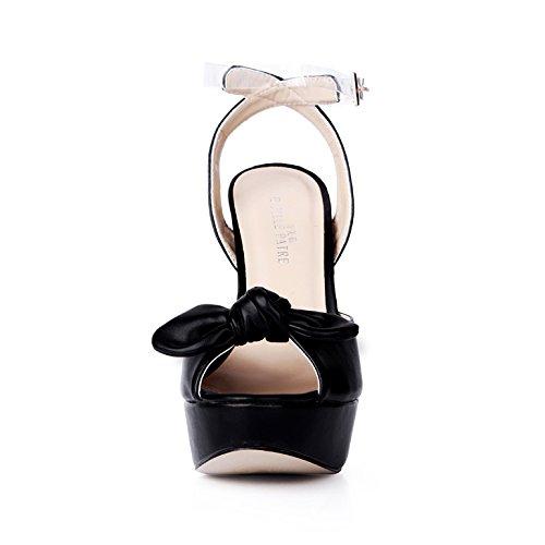 haut à femmes d'été femme chaussures banquet nouveau ceinture fleurs sandales chaussures noir Black Soirée talon wxtIqnnO