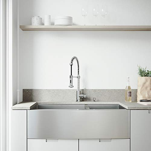 VIGO 36 inch Farmhouse Apron 60/40 Double Bowl 16 Gauge Stainless Steel Kitchen Sink with Edison Chrome Faucet, Two Grids, Two Strainers and Soap Dispenser