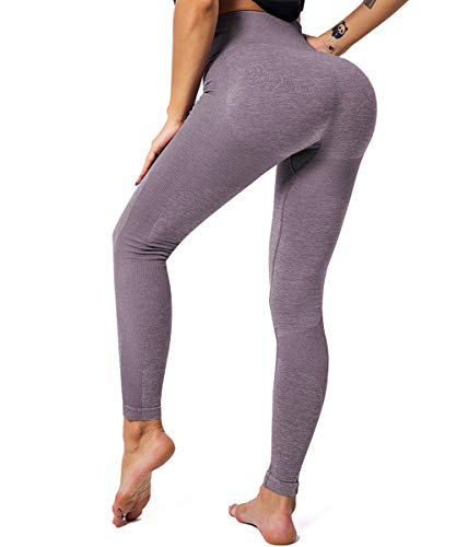 GILLYA Seamless Gym Workout Leggings Women High Waisted Vital Yoga Pants Tummy Control Butt Lift Sport Tights (Taupe Brown,L) (Tummy Lift)