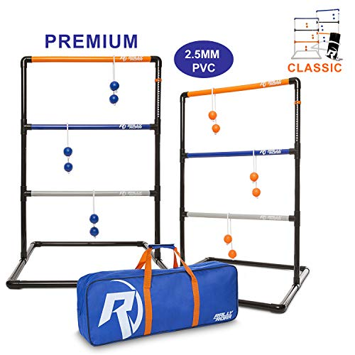 Premium Ladder Ball Toss Game for Adults, Kids, Family - Outdoor Ladders Set with Canvas Bag, Resin Bolos, and Thick PVC Piping - Backyard Games, Activities for Parties - Pro Series -