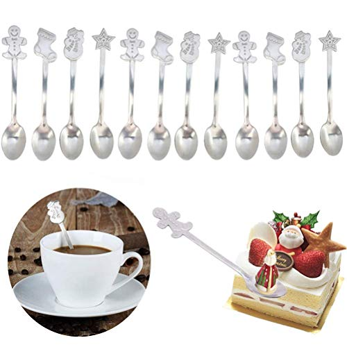 Lwestine 12 Pack Christmas Coffee Spoon with Random Styles (Spoons Christmas)