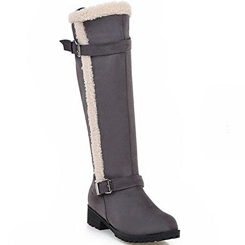 Bootie heels DecoStain Women's knee Grey mid buckle high qf7fYw