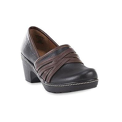 Women's Casper Black/Brown Leather Clog Size 6