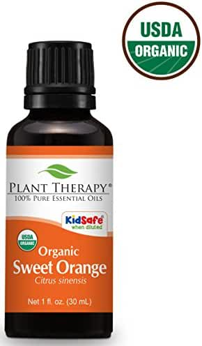 Plant Therapy USDA Certified Organic Sweet Orange Essential Oil. 100% Pure, Undiluted, Therapeutic Grade. 30 ml (1 oz).