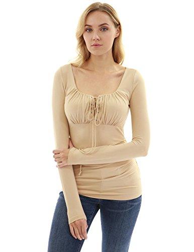 PattyBoutik Women's Empire Waist Lace Up Long Sleeve Blouse (Beige XS) (Beige Sexy Shirt)