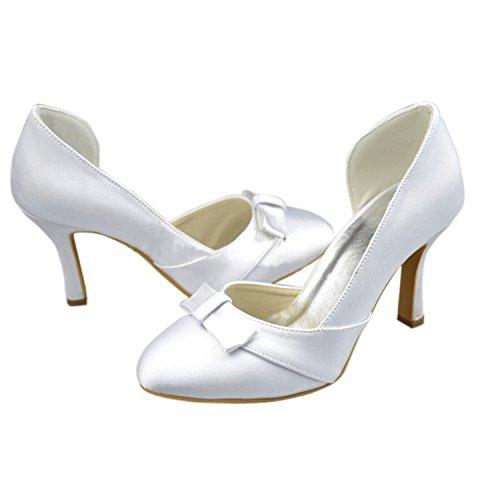 Kevin Fashion Mz1203 Vrouwen Amandel Teen Satijn Bruids Bruiloft Formele Feestavond Prom Pumps Schoenen Wit