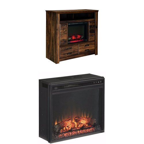 Ashley Furniture Signature Design - Quinden Media Chest with Traditional Log Fireplace Unit Included - Dark Brown by