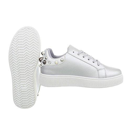 Ital Argento Donna Da Sneakers 88035 design Scarpe Sneaker Piatto Low rxwSrC8q