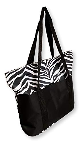 (101 BEACH Large Zebra Print Shopper Beach Bag Tote | Personalization Monogram Custom Selections Available (Zebra - No Embroidery))