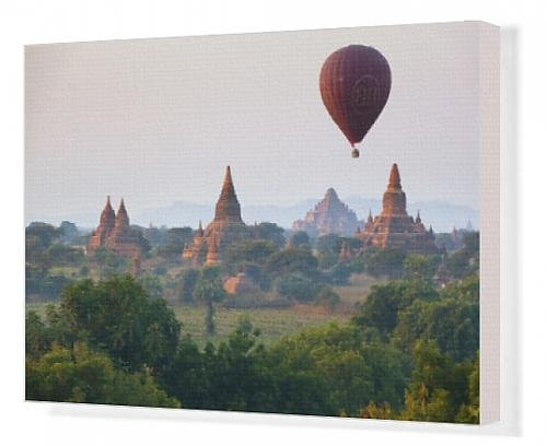 Canvas Print of Dawn over ancient temples from hot air balloon, Bagan (Pagan), Central Myanmar,