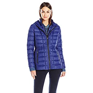 London Fog Women's Packable Down Coat with Removable Hood, Sapphire, L