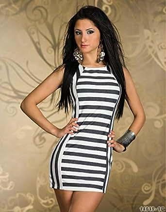 Black And White Stripe Sleeveless Dress Women