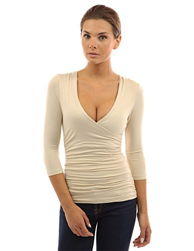 PattyBoutik V Neck Ruched 3/4 Sleeve Double Layers Blouse (Beige M)