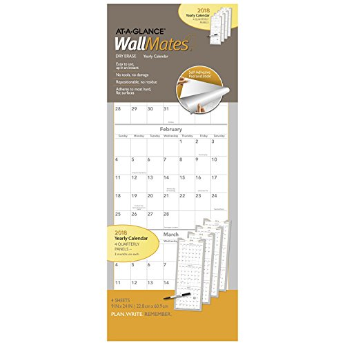 AT-A-GLANCE Self-Adhesive Dry-Erase Quarterly Calendar, WallMates January 2018 - December 2018, 9