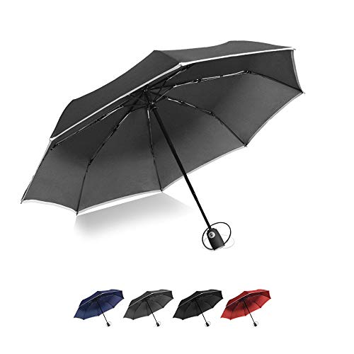 Brainstorming Compact Travel Umbrella, Folding Umbrella with Reflective Stripe, 8 ribs Lightweight Windproof Umbrella, Windproof Umbrella with Reflective Stripe, Small Portable Umbrella - Gray