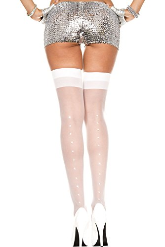 Nyteez Women's Bridal Stockings Hosiery Thigh Highs (One Size, Rhinestone Seam)