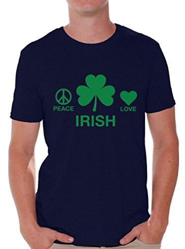 Awkward Styles Men's Peace Love Irish Graphic T Shirt Tops Navy 3XL