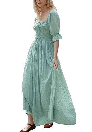R.Vivimos Women Summer Half Sleeve Cotton Ruffled Vintage Elegant Backless A Line Flowy Long Dresses (Medium, Green)]()