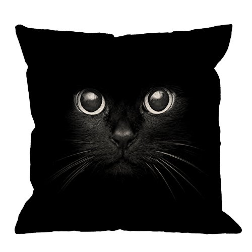 HGOD DESIGNS Cat Pillow Case,Cute Black Cat Face Black Eye Cotton Linen Square Cushion Cover Pillowcase Men Women Kids Home Decorative Sofa Armchair Bedroom Livingroom 18 x 18 inch