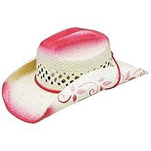 Modestone Kids Straw Cowboy Hat White Pink Painted Floral Brim Chinstring