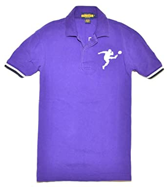 Polo Ralph Lauren Rugby Big Pony Mens Short Sleeve Cotton Mesh Shirt Purple