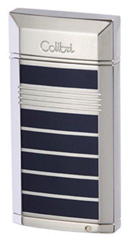 Polished Silver Colibri Lighter (Colibri Evoke Blue Lacquer Polished Silver Stripe Torch Flame Cigar Lighter Punch QTR497004)
