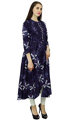 Mujeres Teñido Superior Vestido Anarkali Algodón Blanco Kurti tie Marino La De Del Étnico Diseñador Y Azul Túnica Kurta Phagun 58twqq