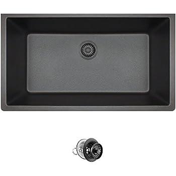 848 Large Single Bowl Quartz Kitchen Sink, Black, Colored