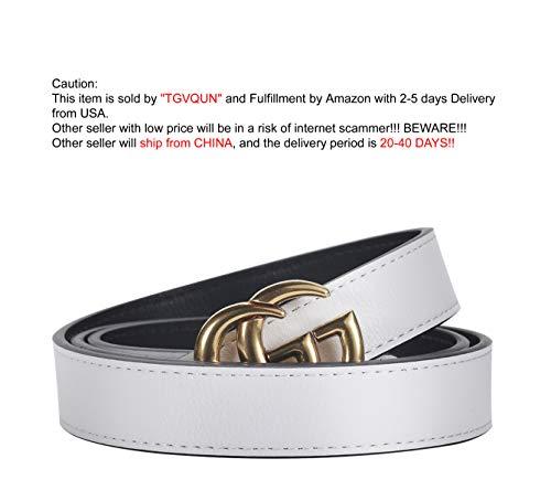 Style White Leather - [TGVQUN] Luxury Designer GG Style Slim Thin Women Girl Fashion Belt [2.5CM Width] (105CM [Waist 30-34], White)