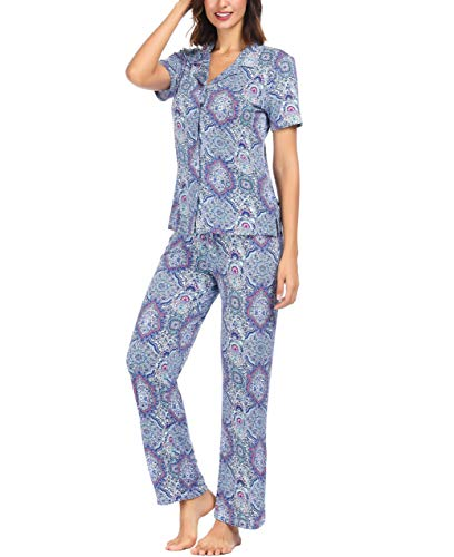 Notch Collar Button - Ink+Ivy Women Pajama Set Short Sleeve and Lounge Pants Notch Collar Button Blue Purple Vector Henna Small