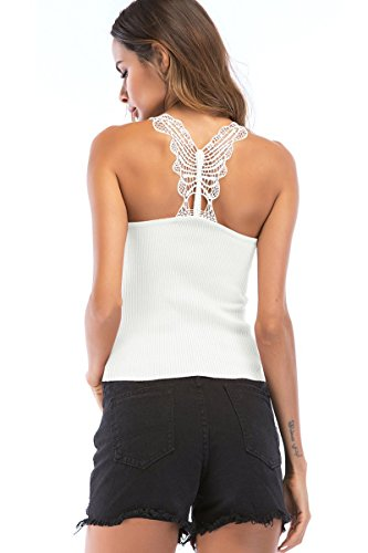 Tank Ribbed Lace Top (Crochet Knit Lace Strappy Ribbed Cute Cami Tank Top for Women White Medium)