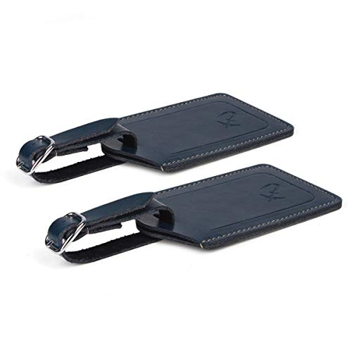 SwissElite Genuine Leather Luggage Tags & Bag Tags 2 pieces Set in 14 Color