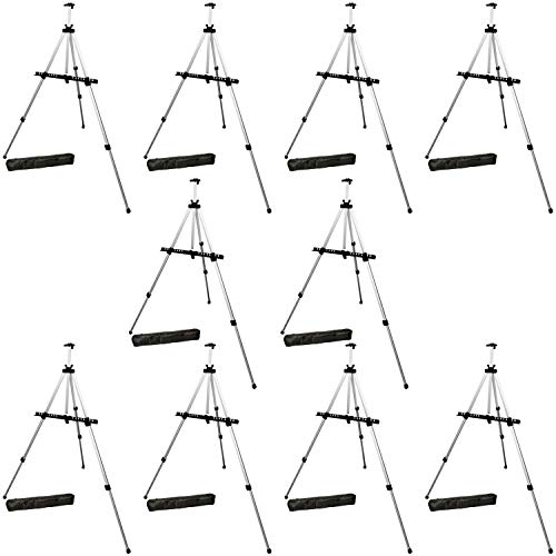 US Art Supply Silver 65inch Tall Lightweight Aluminum Field Floor Table Easel with Bag (10-Easels)]()
